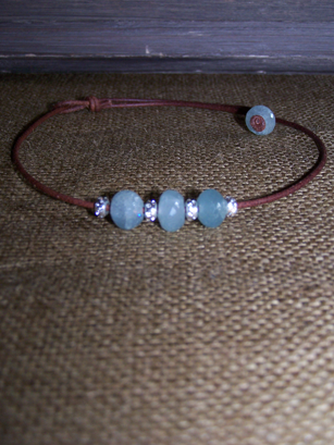 Aquamarine & Sterling on Leather